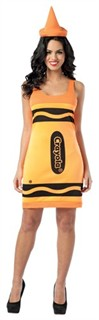 Adult Crayola Crayon Costume Dress - Neon Orange