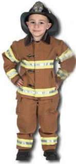 Child Firefighter Costume with Helmet - Tan
