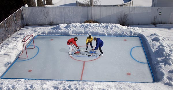 The package comes with an instructional DVD and the rink is simple to set  up and adapts to uneven ground using the patented NiceRink Bracket System  ... - Backyard Skating Rink Kit, Front Yard Vegetable Garden Designs