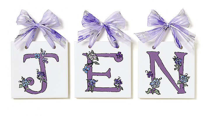 Personalized Name Tiles - Hydrangeas