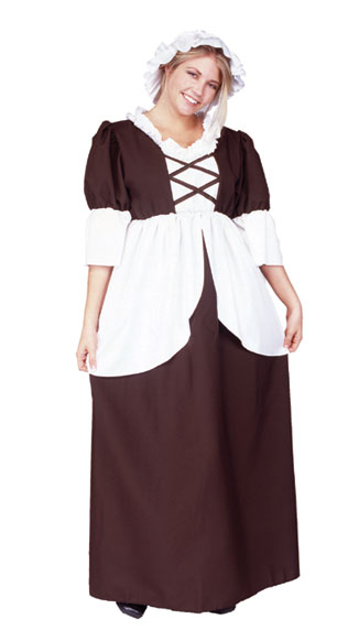 Plus Size Colonial Peasant Costume, Adult Colonial Costume